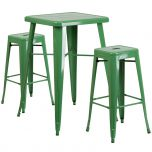 Green Metal Indoor-Outdoor Bar Table Set with 2 Backless Barstools [CH-31330B-2-30SQ-GN-GG]