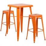 Orange Metal Indoor-Outdoor Bar Table Set with 2 Backless Barstools [CH-31330B-2-30SQ-OR-GG]