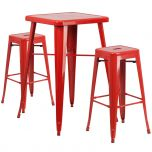 Red Metal Indoor-Outdoor Bar Table Set with 2 Backless Barstools [CH-31330B-2-30SQ-RED-GG]
