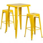 Yellow Metal Indoor-Outdoor Bar Table Set with 2 Backless Barstools [CH-31330B-2-30SQ-YL-GG]