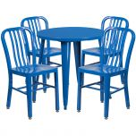 30'' Round Blue Metal Indoor-Outdoor Table Set with 4 Vertical Slat Back Chairs [CH-51090TH-4-18VRT-BL-GG]