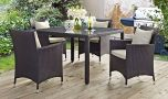 Convene 5 Piece Outdoor Patio Dining Set in Espresso Beige