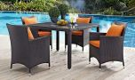 Convene 5 Piece Outdoor Patio Dining Set in Espresso Orange