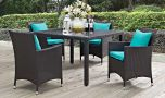 Convene 5 Piece Outdoor Patio Dining Set in Espresso Turquoise