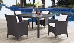 Convene 5 Piece Outdoor Patio Dining Set in Espresso White