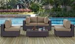 Convene 5 Piece Outdoor Patio Sectional Set in Espresso Mocha