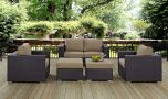 Convene 5 Piece Outdoor Patio Sofa Set in Espresso Mocha