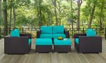 Convene 5 Piece Outdoor Patio Sofa Set in Espresso Turquoise