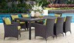 Convene 9 Piece Outdoor Patio Dining Set in Espresso Peridot