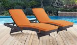 Convene Chaise Outdoor Patio in Espresso Orange (Set of 2)