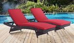 Convene Chaise Outdoor Patio in Espresso Red (Set of 2)