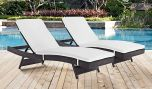 Convene Chaise Outdoor Patio in Espresso White (Set of 2)