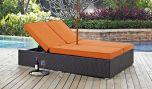Convene Double Outdoor Patio Chaise in Espresso Orange