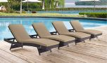 Convene Outdoor Patio Chaise in Espresso Mocha (Set of 4)
