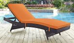 Convene Outdoor Patio Chaise in Espresso Orange