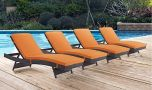 Convene Outdoor Patio Chaise in Espresso Orange (Set of 4)