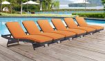 Convene Outdoor Patio Chaise in Espresso Orange (Set of 6)