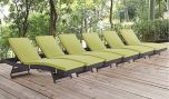 Convene Outdoor Patio Chaise in Espresso Peridot (Set of 6)
