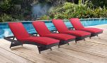 Convene Outdoor Patio Chaise in Espresso Red (Set of 4)