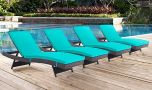 Convene Outdoor Patio Chaise in Espresso Turquoise (Set of 4)