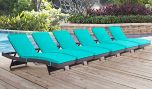 Convene Outdoor Patio Chaise in Espresso Turquoise (Set of 6)
