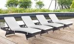 Convene Outdoor Patio Chaise in Espresso White (Set of 4)