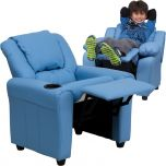 Contemporary Light Blue Vinyl Kids Recliner with Cup Holder and Headrest [DG-ULT-KID-LTBLUE-GG]