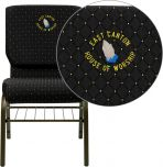Embroidered HERCULES Series 18.5''W Black Dot Patterned Fabric Church Chair with 4.25'' Thick Seat, Book Rack - Gold Vein Frame [XU-CH-60096-BK-BAS-EMB-GG]