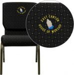 Embroidered HERCULES Series 18.5''W Black Dot Patterned Fabric Stacking Church Chair with 4.25'' Thick Seat - Gold Vein Frame [XU-CH-60096-BK-EMB-GG]