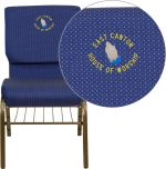 Embroidered HERCULES Series 18.5''W Navy Blue Patterned Fabric Church Chair with 4.25'' Thick Seat, Book Rack - Gold Vein Frame [XU-CH-60096-NVY-DOT-BAS-EMB-GG]