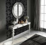 Girona Modern Console Table in Silver & White