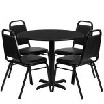 36'' Round Black Laminate Table Set with 4 Black Trapezoidal Back Banquet Chairs [HDBF1001-GG]