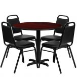 36'' Round Mahogany Laminate Table Set with 4 Black Trapezoidal Back Banquet Chairs [HDBF1002-GG]