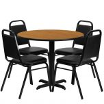 36'' Round Natural Laminate Table Set with 4 Black Trapezoidal Back Banquet Chairs [HDBF1003-GG]