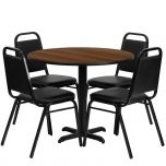 36'' Round Walnut Laminate Table Set with 4 Black Trapezoidal Back Banquet Chairs [HDBF1004-GG]