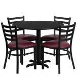36'' Round Black Laminate Table Set with 4 Ladder Back Metal Chairs - Burgundy Vinyl Seat [HDBF1005-GG]
