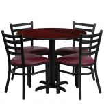 36'' Round Mahogany Laminate Table Set with 4 Ladder Back Metal Chairs - Burgundy Vinyl Seat [HDBF1006-GG]