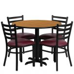 36'' Round Natural Laminate Table Set with 4 Ladder Back Metal Chairs - Burgundy Vinyl Seat [HDBF1007-GG]