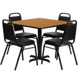 36'' Square Natural Laminate Table Set with 4 Black Trapezoidal Back Banquet Chairs [HDBF1011-GG]