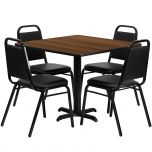 36'' Square Walnut Laminate Table Set with 4 Black Trapezoidal Back Banquet Chairs [HDBF1012-GG]