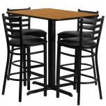 24''W x 42''L Rectangular Natural Laminate Table Set with 4 Ladder Back Metal Bar Stools - Black Vinyl Seat [HDBF1019-GG]