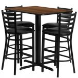 24''W x 42''L Rectangular Walnut Laminate Table Set with 4 Ladder Back Metal Bar Stools - Black Vinyl Seat [HDBF1020-GG]