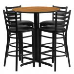 30'' Round Natural Laminate Table Set with 4 Ladder Back Metal Bar Stools - Black Vinyl Seat [HDBF1023-GG]