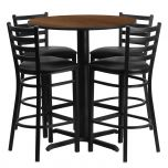 30'' Round Walnut Laminate Table Set with 4 Ladder Back Metal Bar Stools - Black Vinyl Seat [HDBF1024-GG]