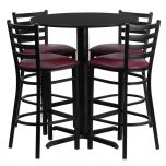 30'' Round Black Laminate Table Set with 4 Ladder Back Metal Bar Stools - Burgundy Vinyl Seat [HDBF1025-GG]