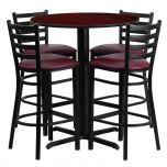 30'' Round Mahogany Laminate Table Set with 4 Ladder Back Metal Bar Stools - Burgundy Vinyl Seat [HDBF1026-GG]
