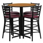 30'' Round Natural Laminate Table Set with 4 Ladder Back Metal Bar Stools - Burgundy Vinyl Seat [HDBF1027-GG]