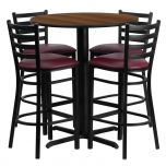 30'' Round Walnut Laminate Table Set with 4 Ladder Back Metal Bar Stools - Burgundy Vinyl Seat [HDBF1028-GG]