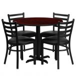 36'' Round Mahogany Laminate Table Set with 4 Ladder Back Metal Chairs - Black Vinyl Seat [HDBF1030-GG]
