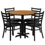 36'' Round Natural Laminate Table Set with 4 Ladder Back Metal Chairs - Black Vinyl Seat [HDBF1031-GG]